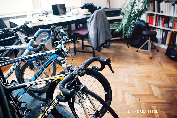 Brigitte Stocker, Arbeitszimmer Radsammlung, Foto: Andrea Siegl